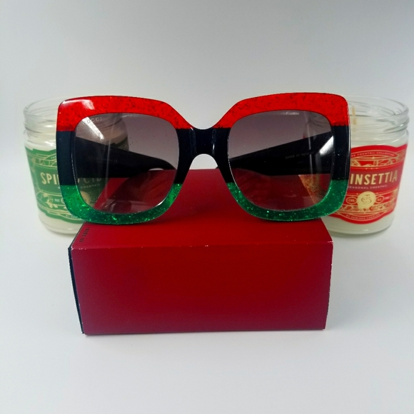 GUCCI GG0083S BLACK/RED/GREEN GREY GRADIENT
